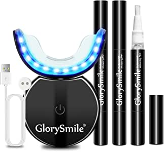 GlorySmile Upgrade Teeth Whitening Kit 24X LED Professional Light Rechargerable Elastic Food-Grade Silicone Tray 3 Teeth Whitening Gel Pens 35% Carbamide Peroxide Teeth Whitener