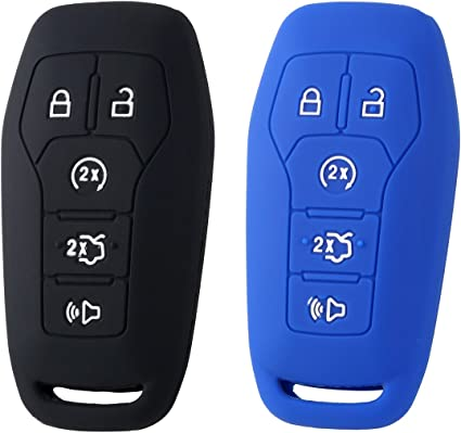 RPKEY Leather Keyless Entry Remote Control Key Fob Cover Case Protector for 5 Button 2015 2016 Ford Mustang Lincoln MKZ MKC MKX M3N-A2C31243300 EJ7T-15K601-AF 164-R7991