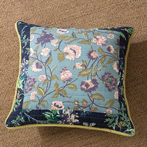 Bordered Calla Lilies (Tache 2 PC Bohemian Blue Tropical Calla Lily Patchwork Quilted 18 x 18 Inch Throw Pillow Cushion Covers)