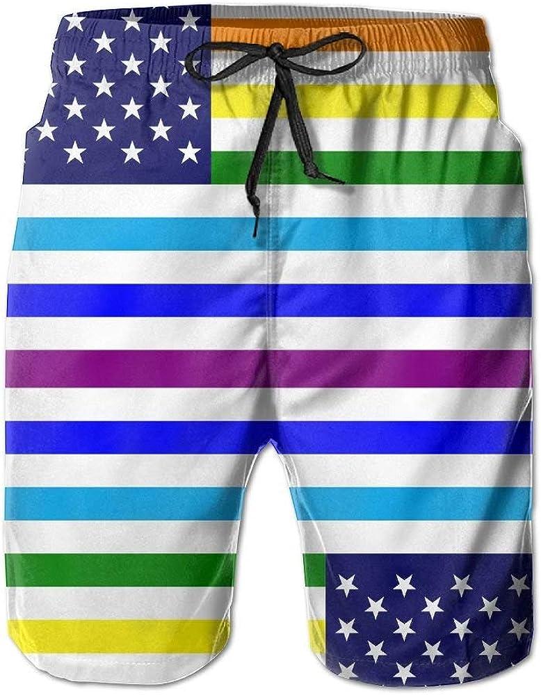 yuqiang ZrGo Mens LGBT USA Rainbow Flag Quick-Dry Summer Beach Surfing Board Shorts Swim Trunks Cargo Shorts