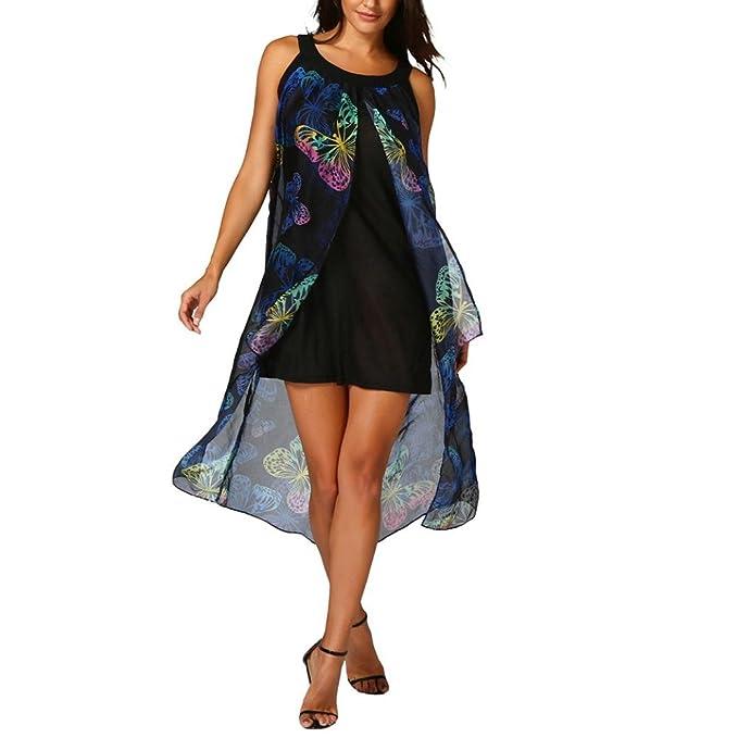Damen Boho Long Strandkleid, ZIYOU Frauen Casual Ärmellos Rundhals  Sommerkleid Schmetterling Printkleider Kleider (Schwarz 4406db0f71