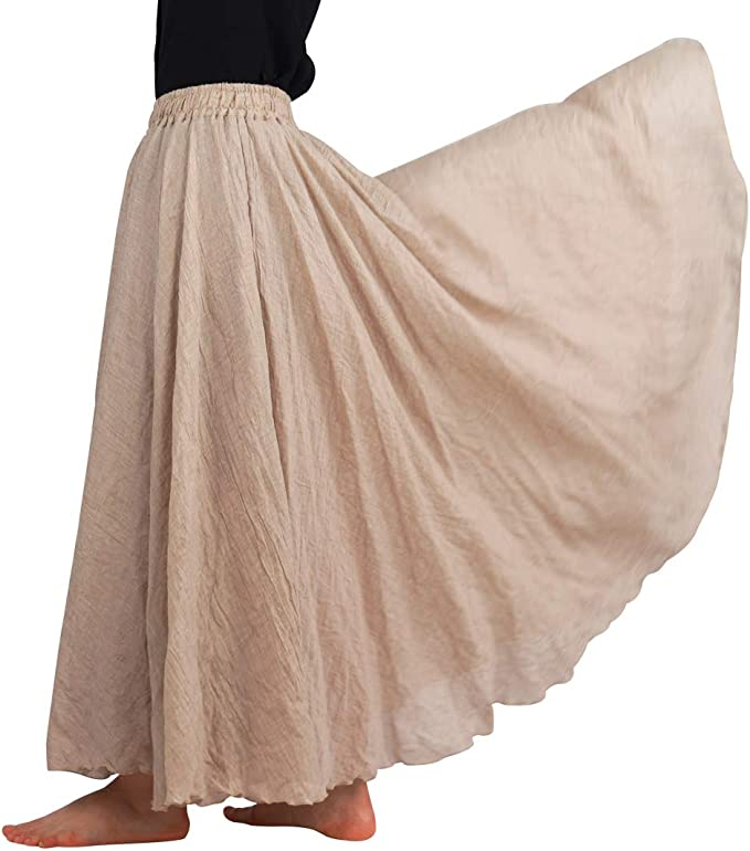 FEOYA Falda Larga de Lino y algodón Vintage para Mujer, Dos Capas ...