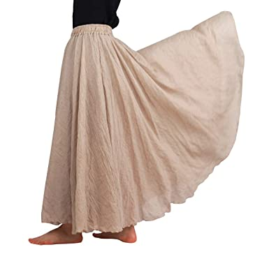f62632dce7 FEOYA Women's Vintage A-Line Cotton Linen Long Maxi Skirt Two-Layer  Breathable Elastic