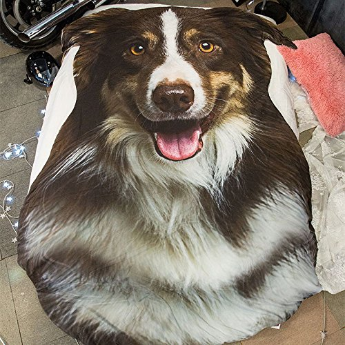 3D Animals Shepherd Dog Printing Summer Quilt 67x92in Bedding Blanket Kid Students Polyester Teens Comforter One Piece by John Whitley