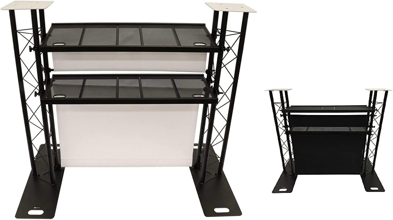 CedarsLink DJ Event Facade White/Black Scrim Complete Metal Booth With Flat Tops