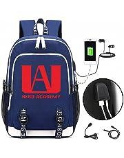 My Hero Academia Backpack Schoolbag Shoulder Daypack Unisex School Bookbag with USB Charging Port Earphone Jack Fits 14 inch Computer for Boys Girls Kids