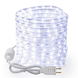 Brizled 18ft 216 LED Rope Lights, 120V UL Listed Plugin Rope Lights Connectable Daylight White Indoor Outdoor Rope Lights Flexible LED Tube Lights for Holiday, Garden, Yard, Corridor and Patio Decor