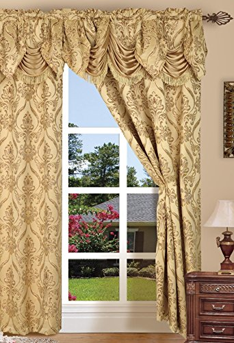 Elegant Comfort Penelopie Jacquard Look Curtain Panels, 54 by 84-Inch, Gold, Set of (Curtain Gold)