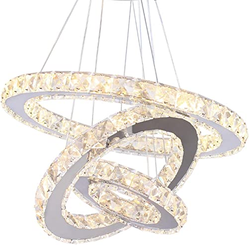 TongLan Modern Chandelier Lighting 23.6 x 15.7 x 7.9 inches LED Ceiling Fixtures 3 Rings Adjustable Stainless Steel Contemporary Crystal Light
