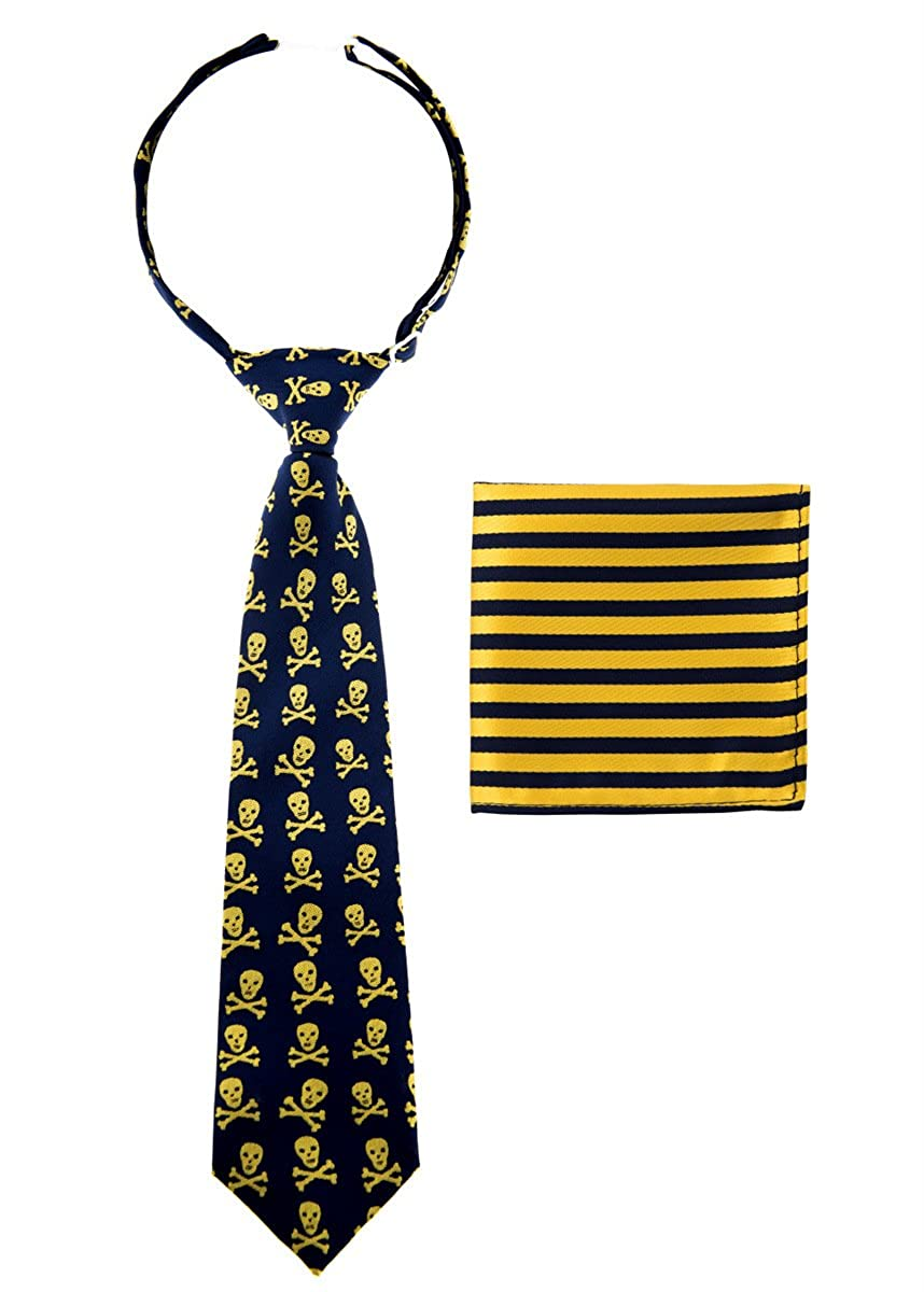 Canacana Cool Funky Skulls Pre-tied Boy's Tie with Stripes Pocket Square Set CNC-CNST2PCPTIE-3