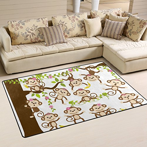 WellLee Animal Area Rug,Monkeys Playing The Forest Floor Rug Non-Slip Doormat for Living Dining Dorm Room Bedroom Decor 60x39 ()