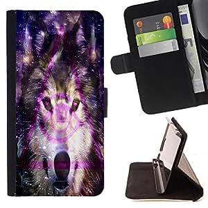 - Wolf Space - - Monedero PU titular de la tarjeta de cr?dito de cuero cubierta de la caja de la bolsa FOR Samsung ALPHA G850 Retro Candy