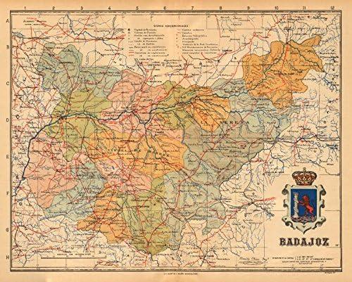 Badajoz. Mérida. Extremadura. Mapa Antiguo de la Provincia. Alberto Martin – C1911 – Old Antiguo Mapa Vintage – Mapas de Impreso de España: Amazon.es: Hogar