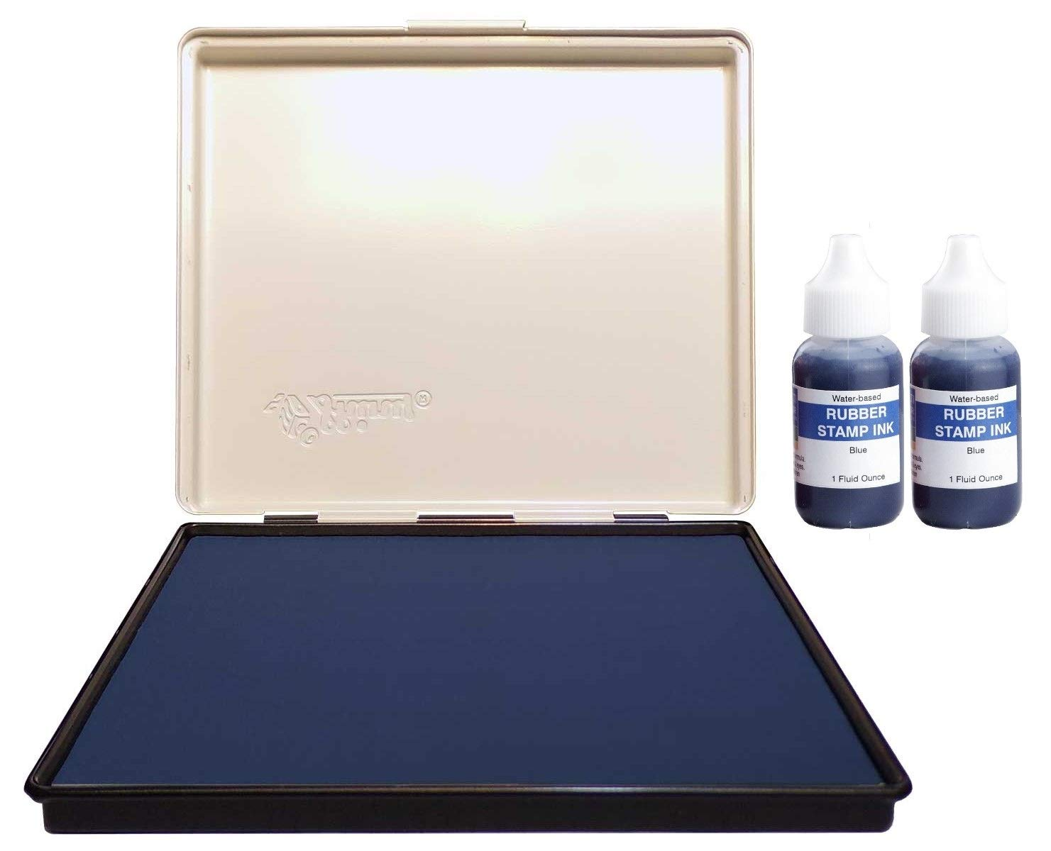 Infusion 7'' x 8'' Extra Large Industrial Stamp Ink Pad, Your Go to Large Stamp Ink Pad for Bright Color, Even Coverage and Durability, Blue Stamp Pad by Infusion
