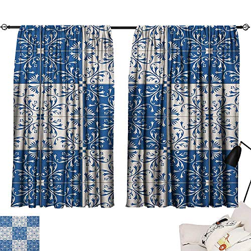red Curtains Moroccan,Turkish Portuguese Style Mosaic Ceramic Patterns Country Style Vintage Image, Navy Blue White 84