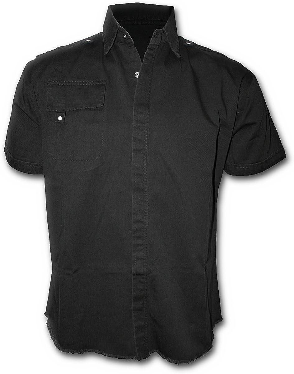 Spiral Metal Streetwear Short Sleeved Stone Washed Workshirt
