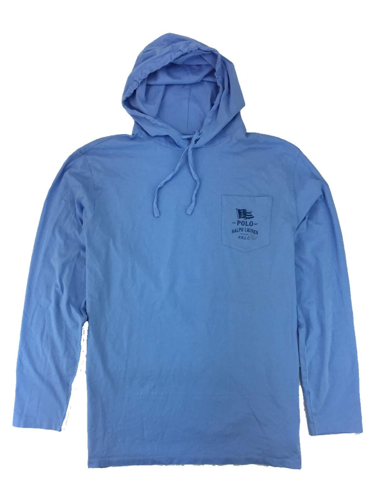 Polo Ralph Lauren Men's Big & Tall Marine Hoodie Long Sleeve T-Shirt (XLT, Essex Blue)