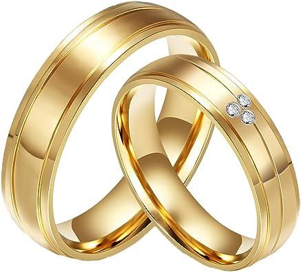 CARTER PAUL Bandas de boda anillo de oro 18K del acero inoxidable del diamante de la CZ plateado de la pareja