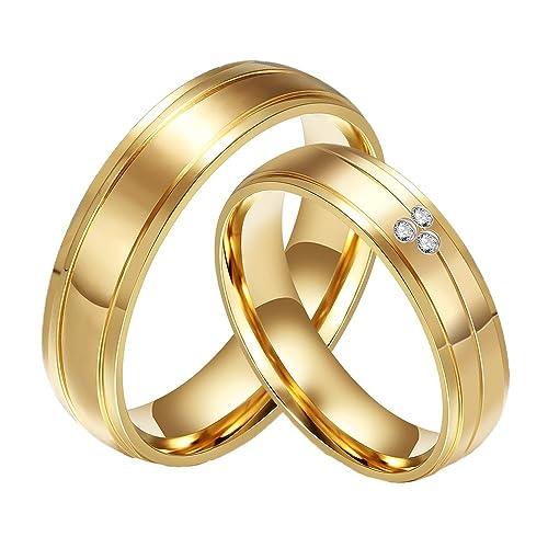 32f87933cd3c CARTER PAUL Bandas de boda anillo de oro 18K del acero inoxidable del  diamante de la CZ plateado de la pareja  Amazon.es  Joyería