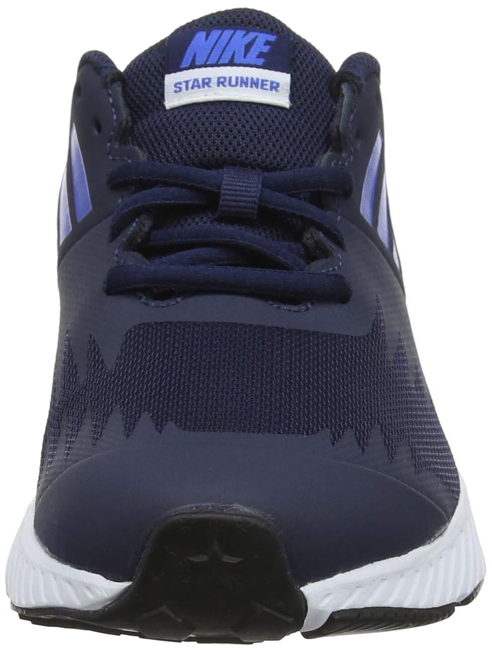Nike Boy's Star Runner (GS) Running Shoe Obsidian/Metallic Silver/Signal Blue Size 3.5 M US by Nike (Image #4)