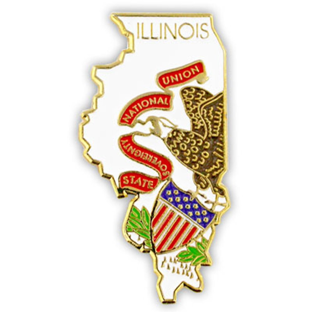 PinMart's State Shape of Illinois and Illinois Flag Lapel Pin