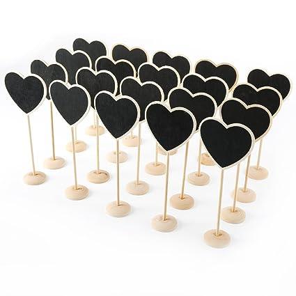 CLE DE TOUS - Lote de 20pcs Pizarras con forma de corazón Pizarra Tablero con Soporte de Madera para Poner Nombre Precio Números para Comida Mesa ...