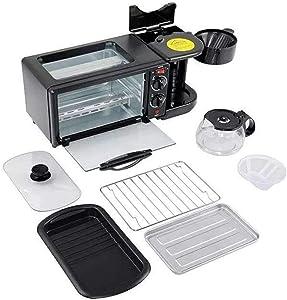 LeBsun Toasters 3-in-1 Breakfast Machine 600w Coffee Pot+750w Teppanyaki +750w Oven Bread Baking Maker Bread Toaster/Fried Egg/Coffee Cooker