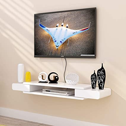 Home Floating Frame White TV Cabinet Set Top Box Shelf/Living Room TV Wall
