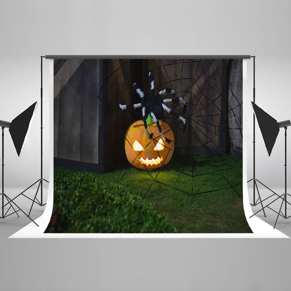 7ft(W) x5ft(H) Night Halloween Photography Background Pumpkin Lantern Spider with Cobweb Backdrop Photo Booth Props for Halloween Backdrop Cotton Cloth Props