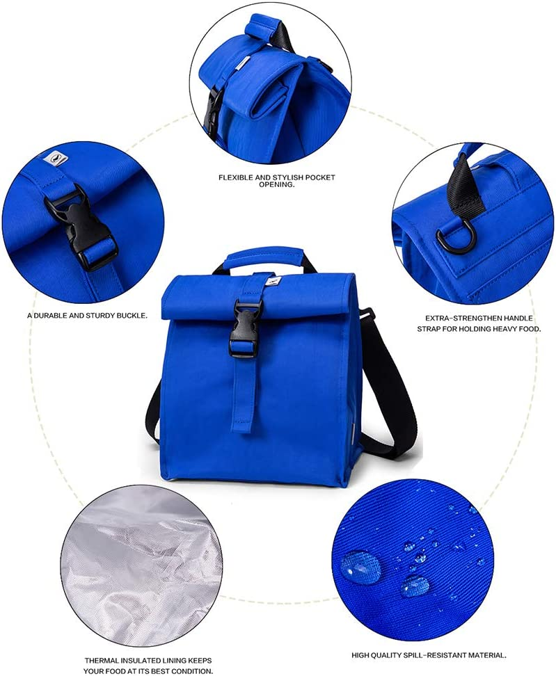 Blue Boys Adult Lunch Box Reusable Lunch Bags Large School Lunch Bag for Men Teens and Kids by Sunny Bird