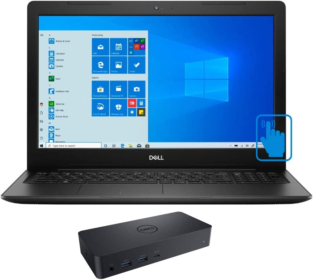 """Dell Inspiron 15 3593 Home and Business Laptop (Intel i7-1065G7 8-Core, 16GB RAM, 512GB SATA SSD, Intel Iris Plus, 15.6"""" Touch HD (1366x768), WiFi, Bluetooth, Webcam, Win 10 Pro) with D6000 Dock"""