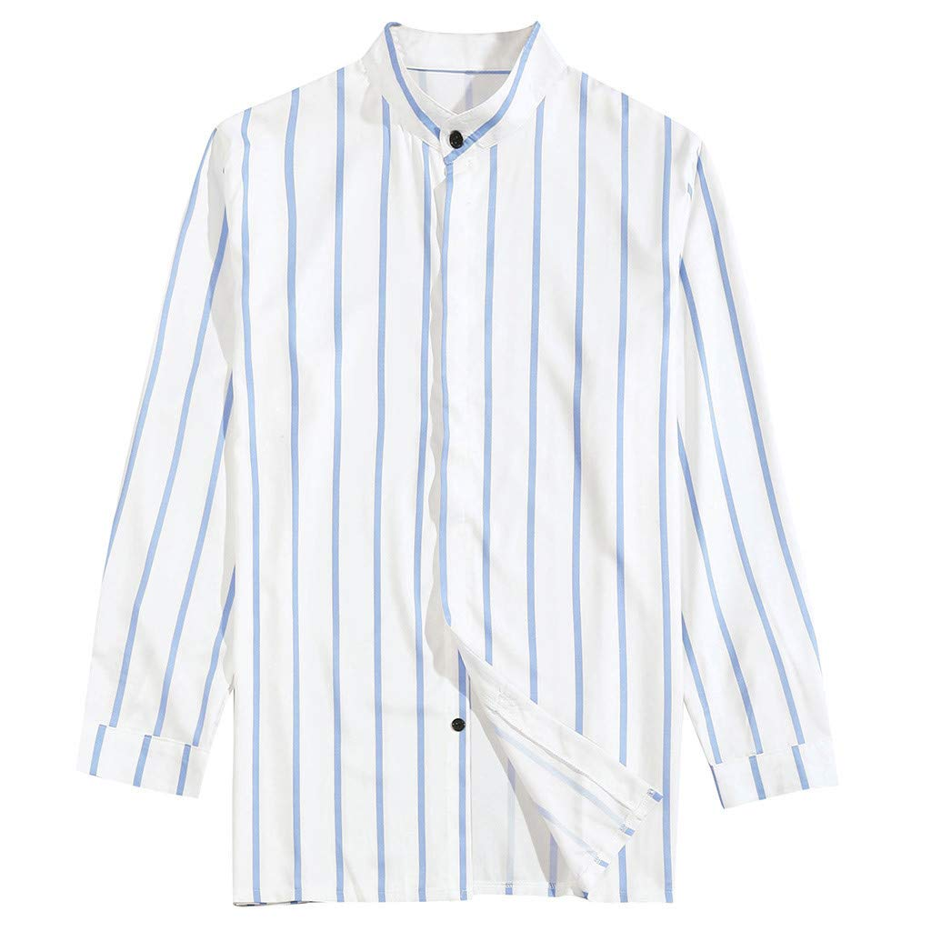 Eoeth Top Blouse for Men Summer Casual Stitching Stripes Long Sleeve Shirts Tight Slim Fit Lapel Quick-Dry T-Shirt Tee