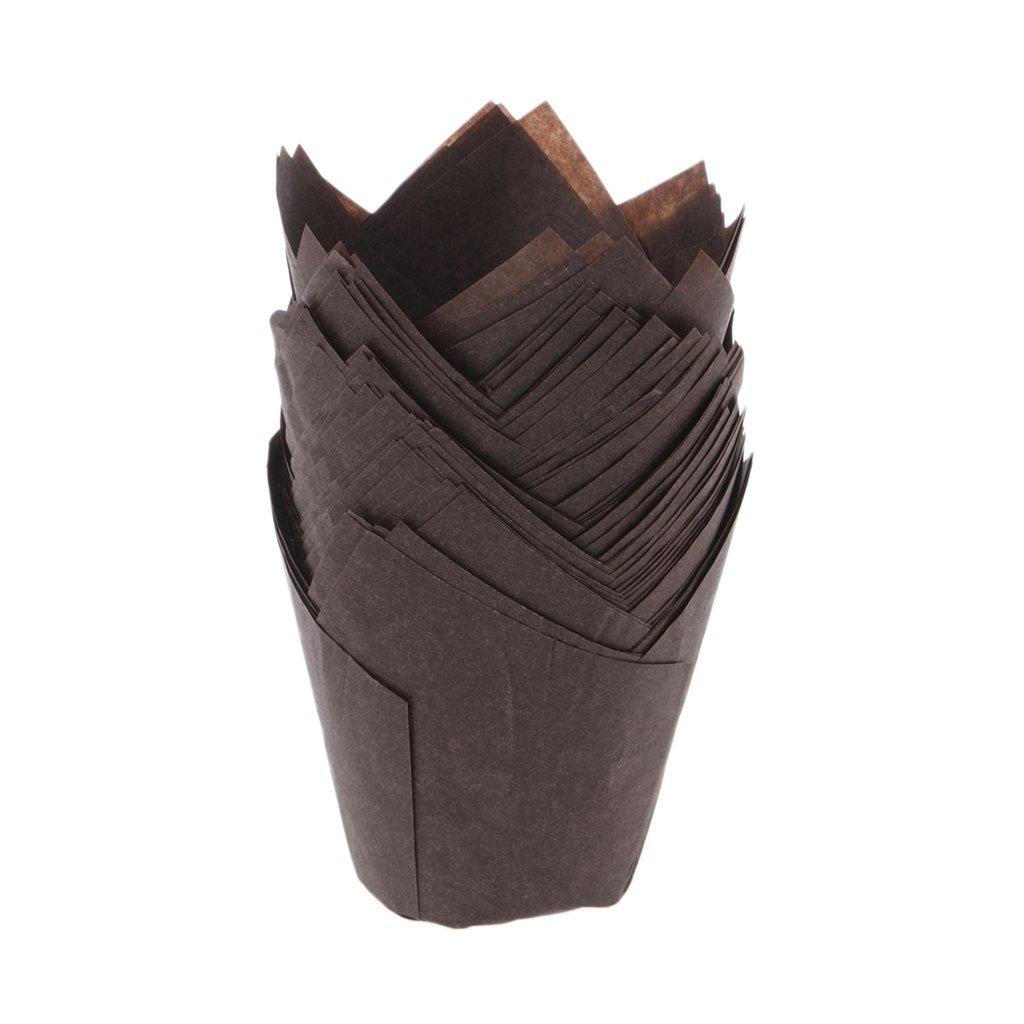 50pcs/lot Solid Wrapper Liners Cup Muffin Tulip Case Cake Paper Baking Cupcake Tebatu