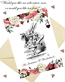 Alice In Wonderland Style Party Invitations U0026 Envelopes (x8 Per Pack)