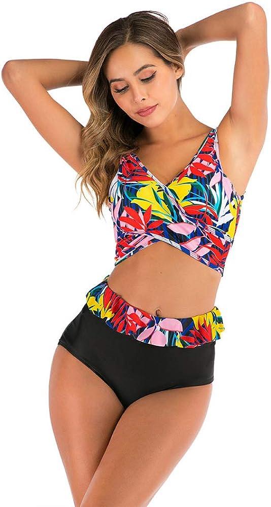 HOSD Sexy Traje de baño con triángulo Dividido más tamaño de Cintura Alta con Estampado de Bikini de Encaje