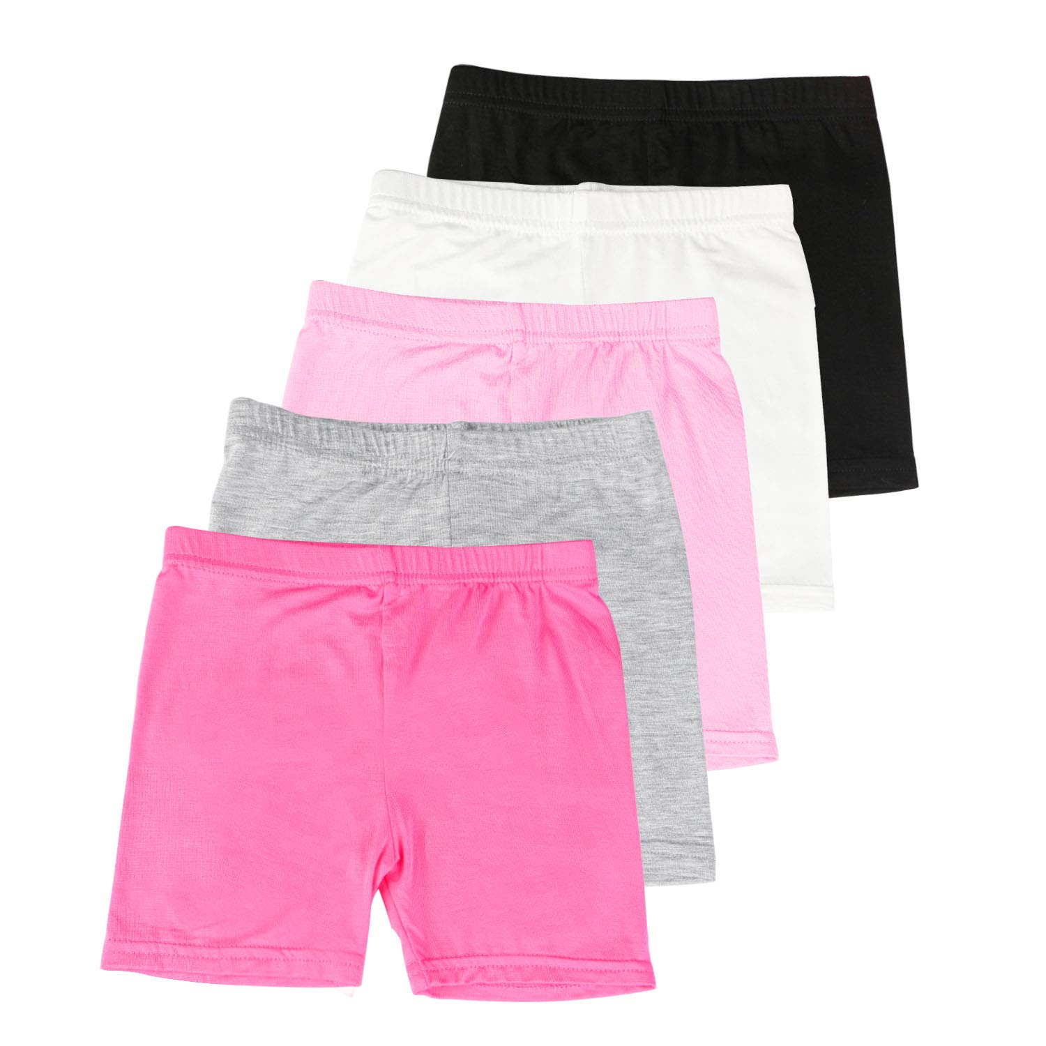 BOOPH Girls Dance Short, 5 Pack Assorted Color Bike Shorts for Girls 4-5 Year Old