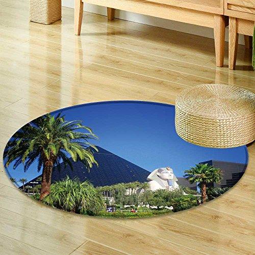 Small Round Rug CarpetLuxor Hotel Casino on Las Vegas Strip Door mat Indoors Bathroom Mats Non Slip-Round 24