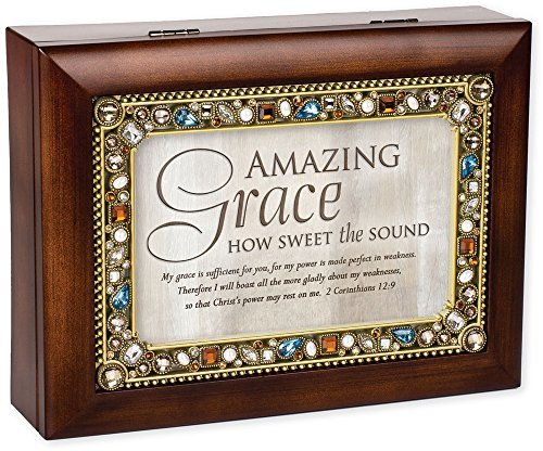 Amazing Grace Walnut Wood Finish Jeweled Lid Jewelry Music Box Plays Tune Amazing Grace
