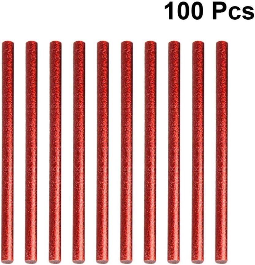 Silber Exceart 100 St/ück Hei/ßklebestifte Gl/änzende Schmelzklebstifte Klebstoffe Hei/ßschmelzklebestifte Bastelklebepistolenstifte f/ür DIY-Zeichnungsdekoration 7X100mm