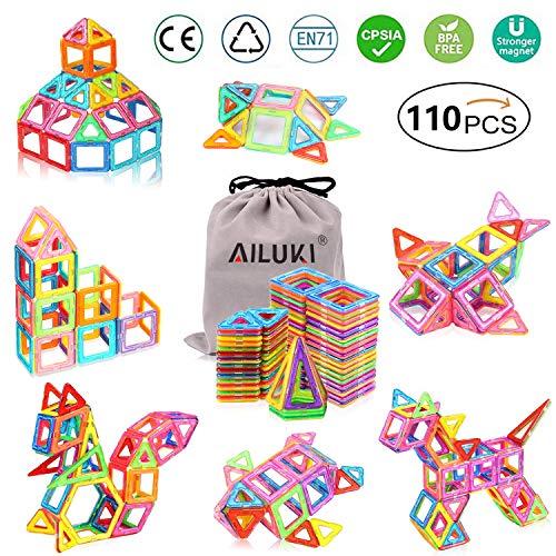 AILUKI 110 Pcs Magnetische Bauklötze Set Magnet Bausteine Konstruktion Blöcke DIY 3D Pädagogische Spielzeug Geburtstag…