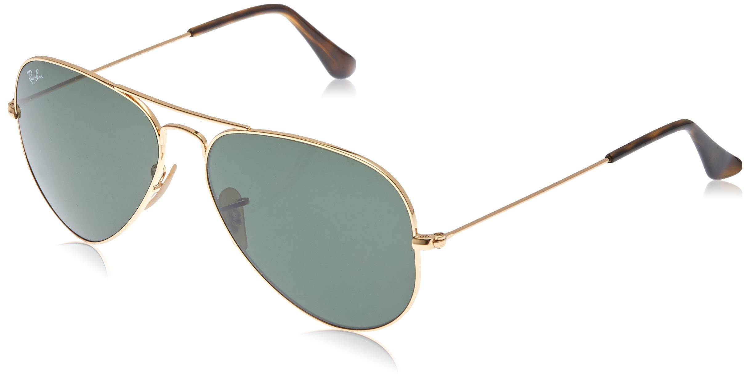 RAY-BAN RB3025 Aviator Large Metal Sunglasses, Gold/Crystal Green, 58 mm by RAY-BAN