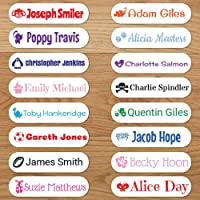 Personalised Iron On Name Labels - Choose Name, Text Colour, Font Preference & Motif (48 Labels)