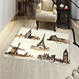 Ancient Print Area Rug European Landmark Traveller Tourist Cities Italy France Spain Sketchy Image Perfect Any Room, Floor Carpet 4'x6' Brown Cream