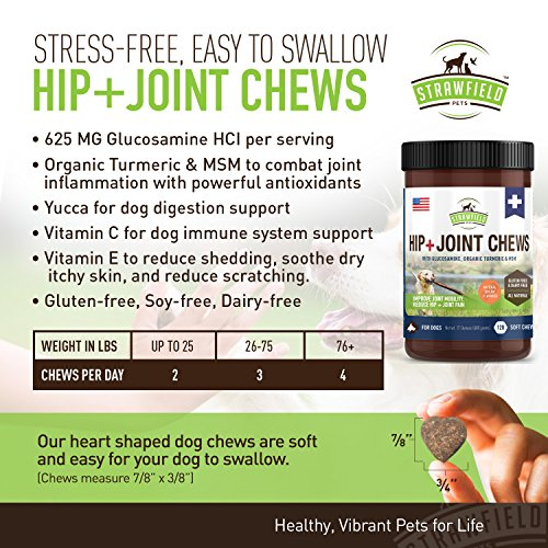 Glucosamine for Dogs - Dog Joint Supplement Chews, Glucosamine Chondroitin MSM + Turmeric - 120 Grain Free Dog Treats Made in USA Only - Hip and Joint Support for Dogs Arthritis Pain Relief, Dysplasia by Strawfield Pets (Image #1)