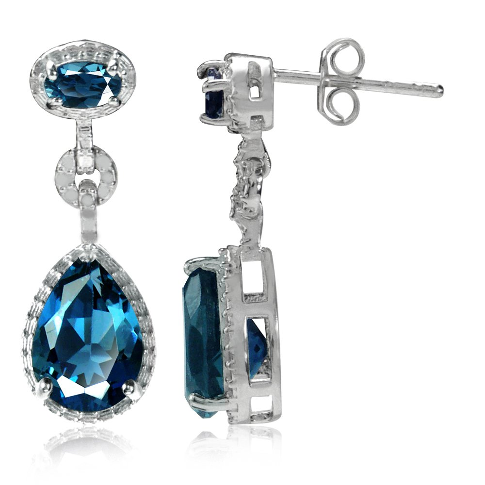 4.46ct. Genuine London Blue Topaz White Gold Plated 925 Sterling Silver Drop Dangle Earrings