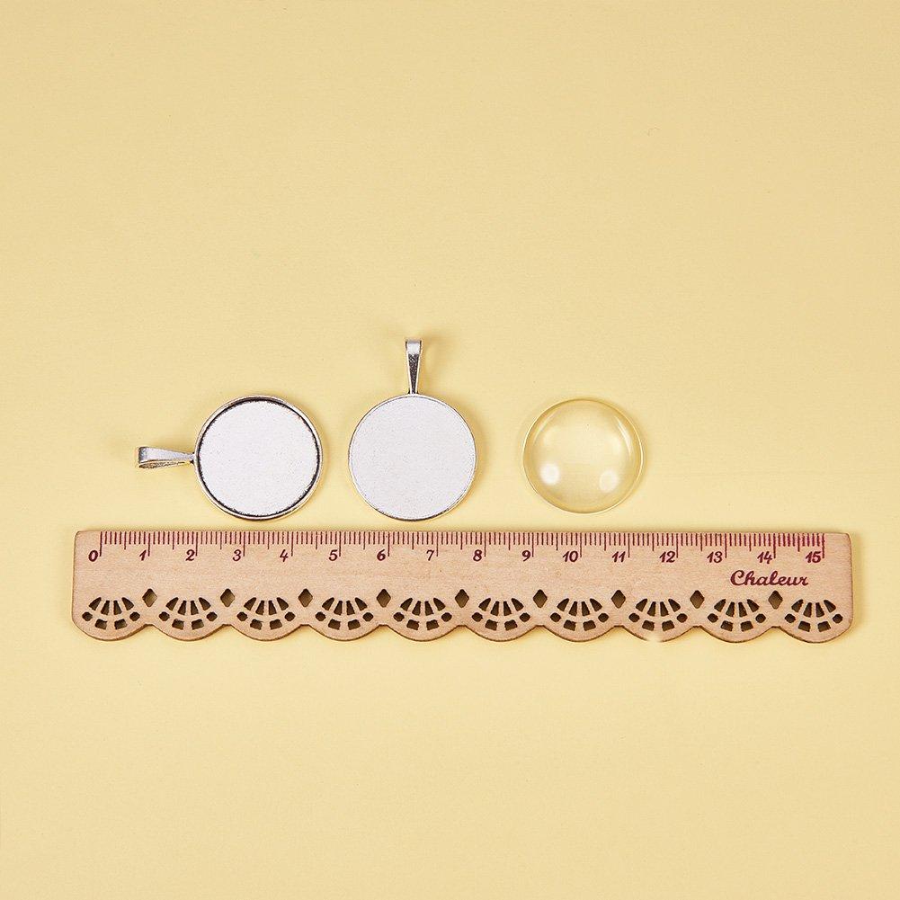 Albero,Bronzo Antico,Pendente:32x28x2mm Foro: 2mm 25mm Cabochon di Vetro Trasparente per Fare Ciondoli Portafoto Senza Nichel /& Piombo /& Cadmio
