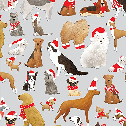 Jillson Roberts 6 Roll-Count Whimsical Winter Christmas Gift Wrap Available in 7 Designs, Santa's Furry Helpers by Jillson Roberts