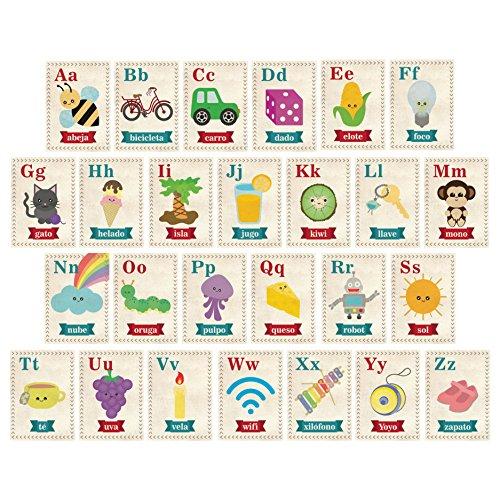 - Children Inspire Design Nursery Wall Decor, ABC Spanish Español 5x7 Wall Cards, Our World Themed, Kid's Wall Art, Nursery Decor, Kid's Room Decor, Gender Neutral Nursery Decor