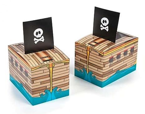 6 Barco Pirata cartón Alimentos Almuerzo o cajas