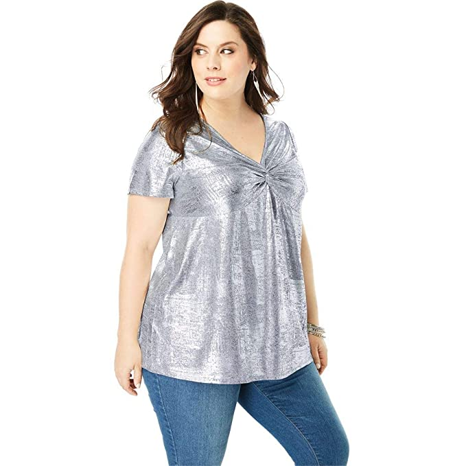 134bd8a22d8 Roamans Women s Plus Size Metallic Knot-Front Tee with V-Neck at Amazon  Women s Clothing store